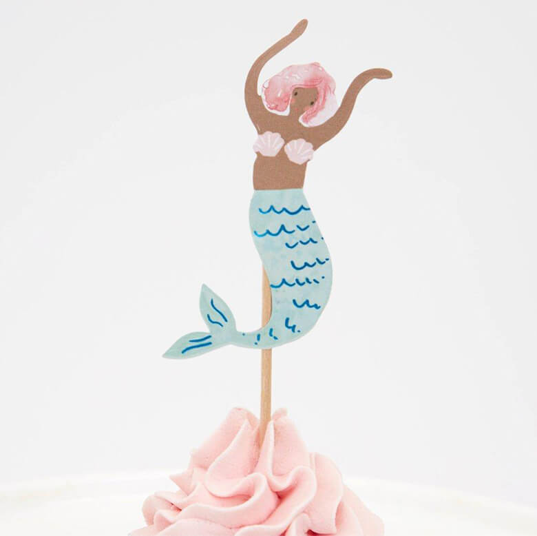 Meri Meri Mermaid Cupcake Kit topper with a watercolor illustrated light blue swimming mermaid with pink hair design