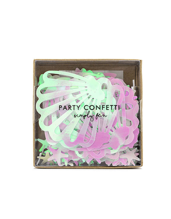 Party Deco Mermaid Narwhal Iridescent Confetti. Each set includes confetti of seashell & starfish designs and double-sided adhesive tape. t's perfect for your mermaid, narwhal or under the sea themed celebration