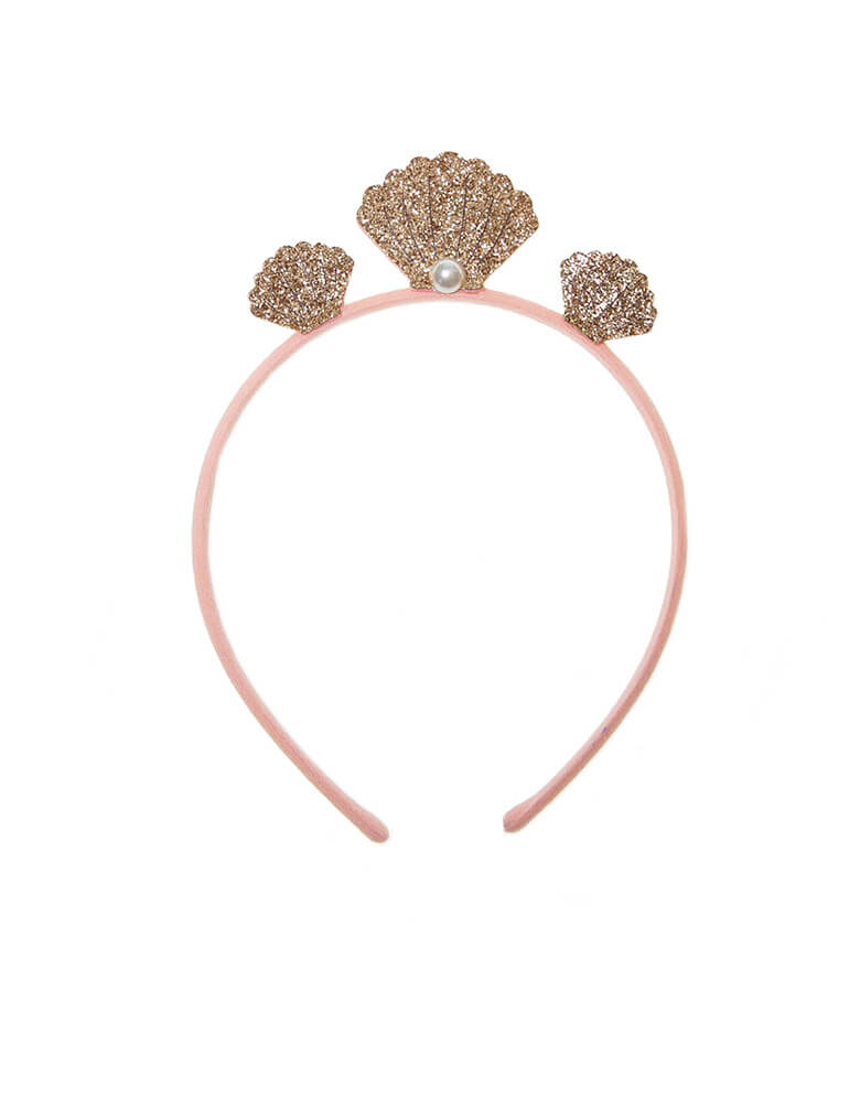 Rockahula Kids - Mermaid-Seashell-Crown. This crown with three rose gold shimmering shells and a cute little pearl detail. It is the perfect headband for magical mermaid lovers. The head band is made in the softest pink fabric and is designed to provide a comfortable fit for little heads.