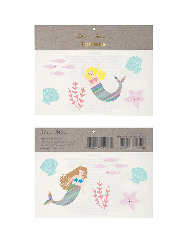 Meri Meri Mermaid Temporary Tattoos Set of two with mermaids and sea shells and sea stars