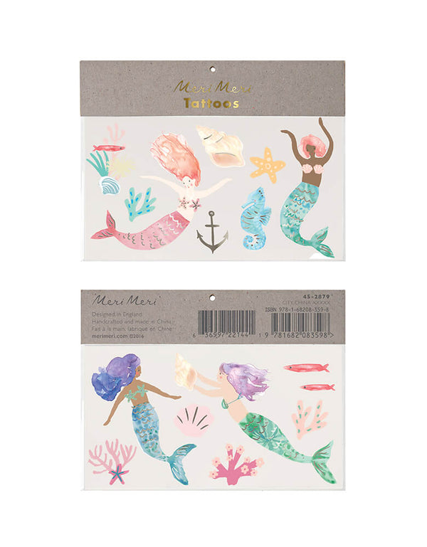 Meri Meri Mermaid Large Temporary Tattoos, featuring with temporary tattoos design of mermaids, a starfish, a seahorse, sea plants and corals, shells, a fish and an anchor, printed with white ink and shiny silver foil detail. these kids friendly temporary tattoos are perfect as a party activity or to pop into party bags. They are ideal for mermaid or under-the-sea parties.