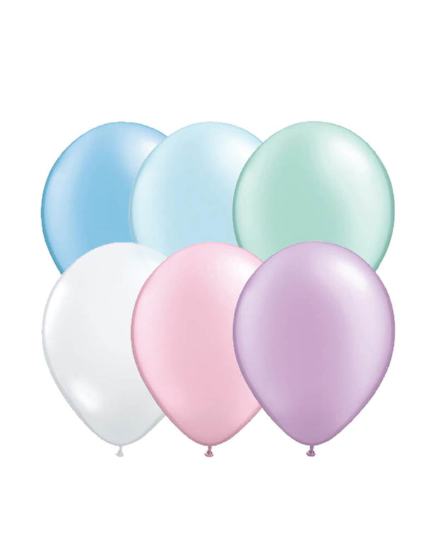 "Qualatex 11"" Latex Balloon Mix with Pearl mint balloons, Pearl pink, pearl blue, Pearl Purple, pearl azure and Diamond clear balloons. Designed specifically for Momo Party Mermaid collection. modern color for a Mermaid or under the sea themed party"