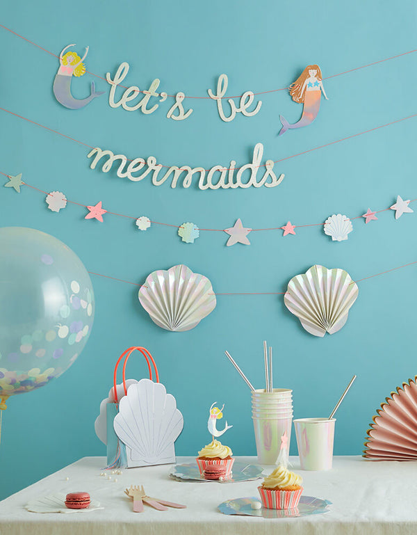 Under the Sea Party set up with Let's Be Mermaids Garland