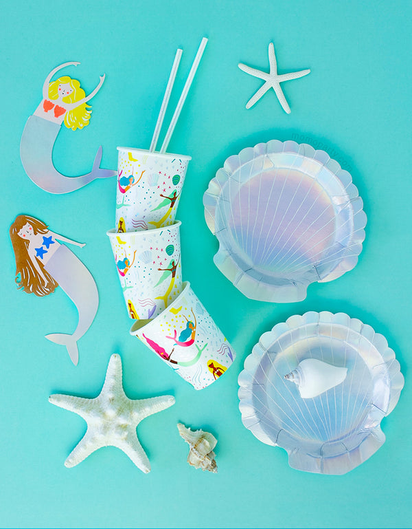Meri Meri Small Shell holographic Plates with Mermaid Cups