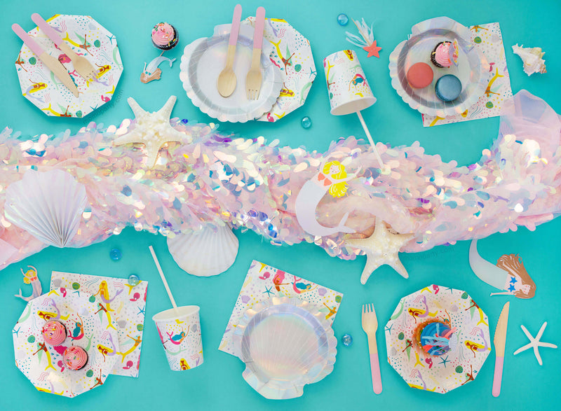 Top up shot of Modern Mermaid party tableware for party of 6