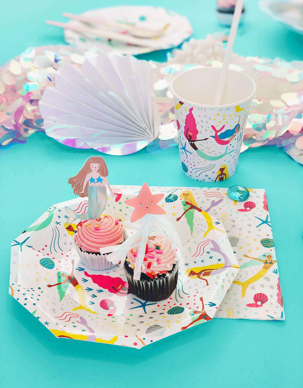 Mermaid Themed Party close up shot with paper Plates, napkins and cups