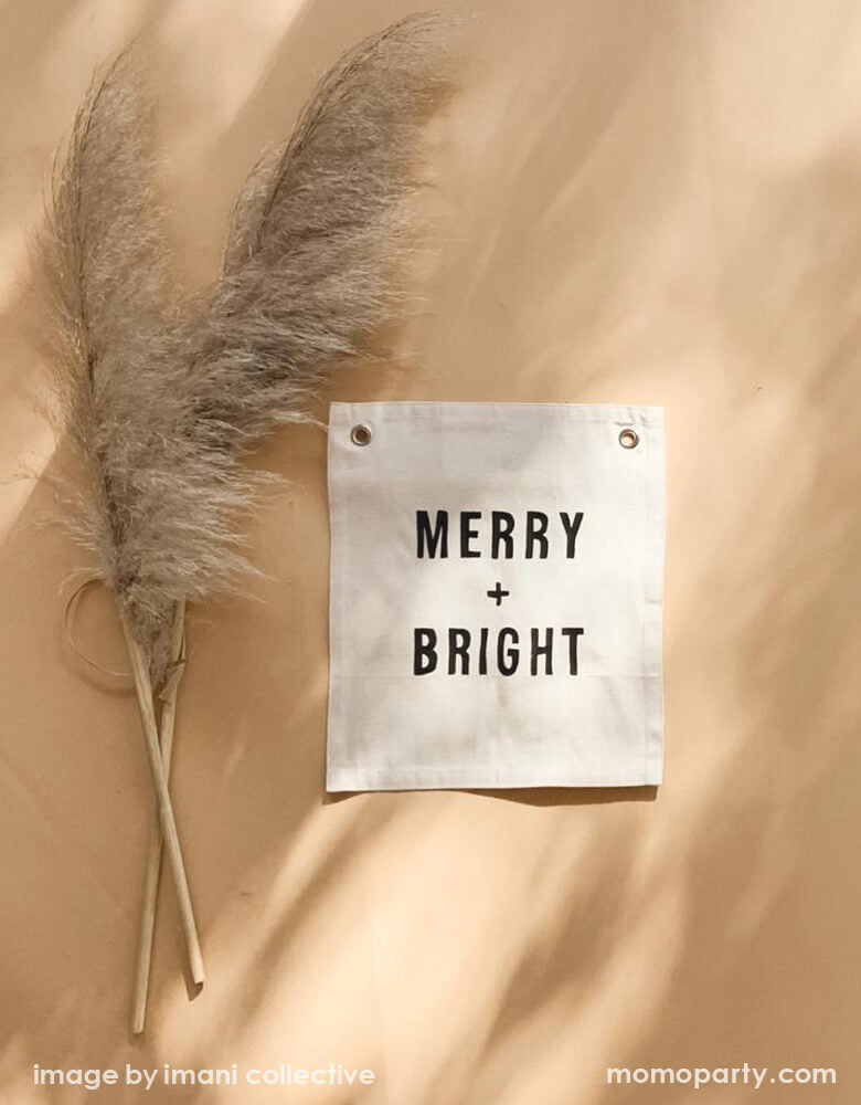 a modern holiday decoration inspo look of Imani Collective MERRY + BRIGHT BANNER next to Natural Dried Reed Pampas Grass. This modern hanging banner was sewn and screen printed by hand on natural canvas by local artisans in Kenya. It's a perfect Holiday decoration for your entrance hall or even your little one's playroom! Sold by Momo party store provided modern party supplies, boutique party supplies, chic holiday party supplies and high end party supplies