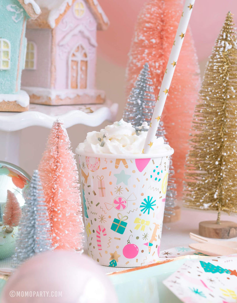 Daydream Society Merry and Bright Holiday Christmas Party Cups with Wrap cream and Golden Star paper party straw, Sisal Trees, ginger bread house decorations for holiday celebration