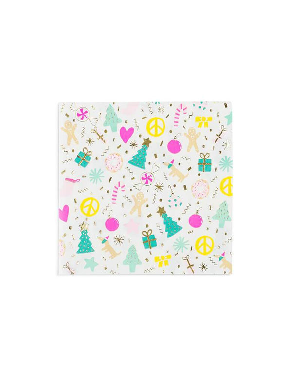 Daydream Society 6.5 inches Merry and Bright Holiday Christmas Party Napkins Set of 16