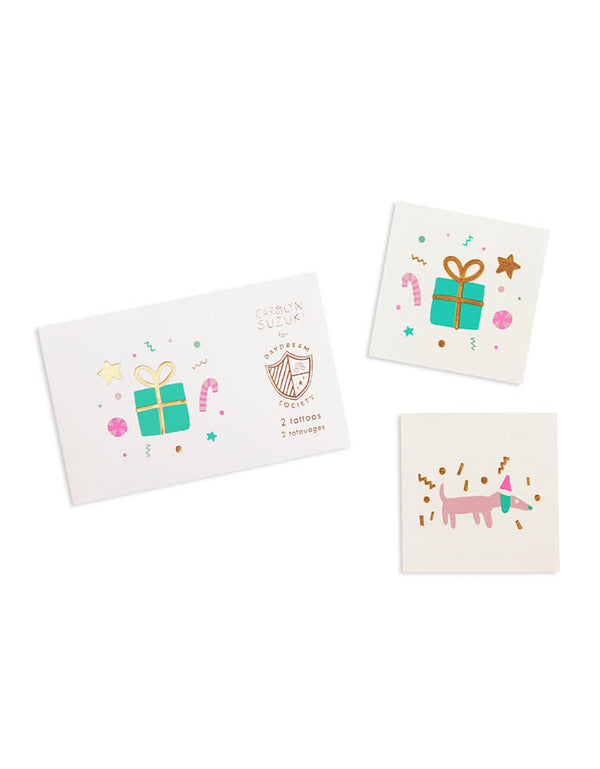 Daydream Society Merry and Bright Holiday Temporary Tattoos featuring Christmas gift box and cute dachshund designs