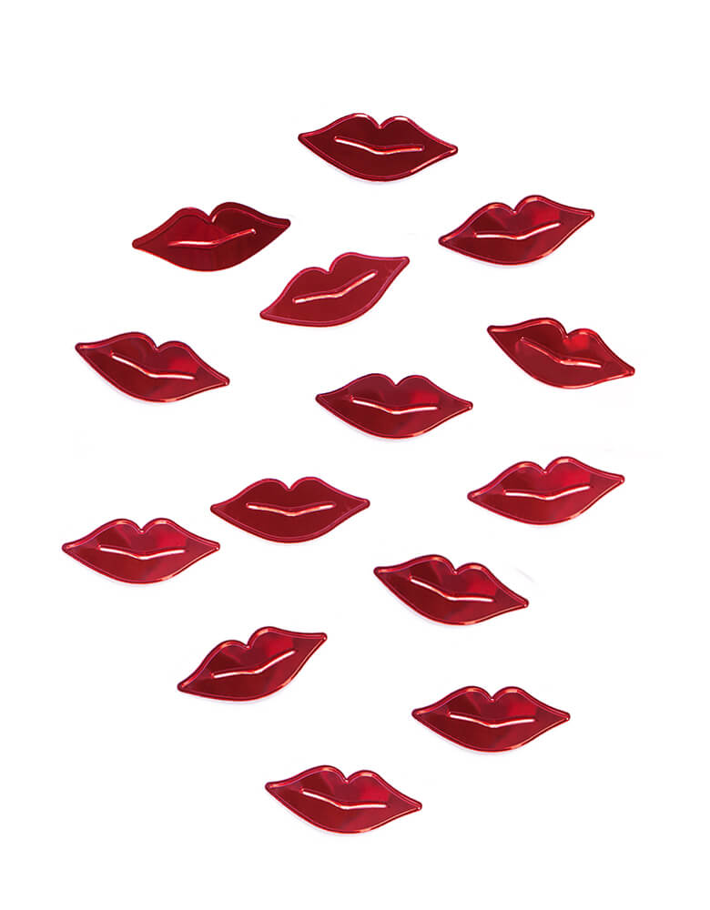 Party Deco Red Lips Confetti for Valentine's Day Celebration