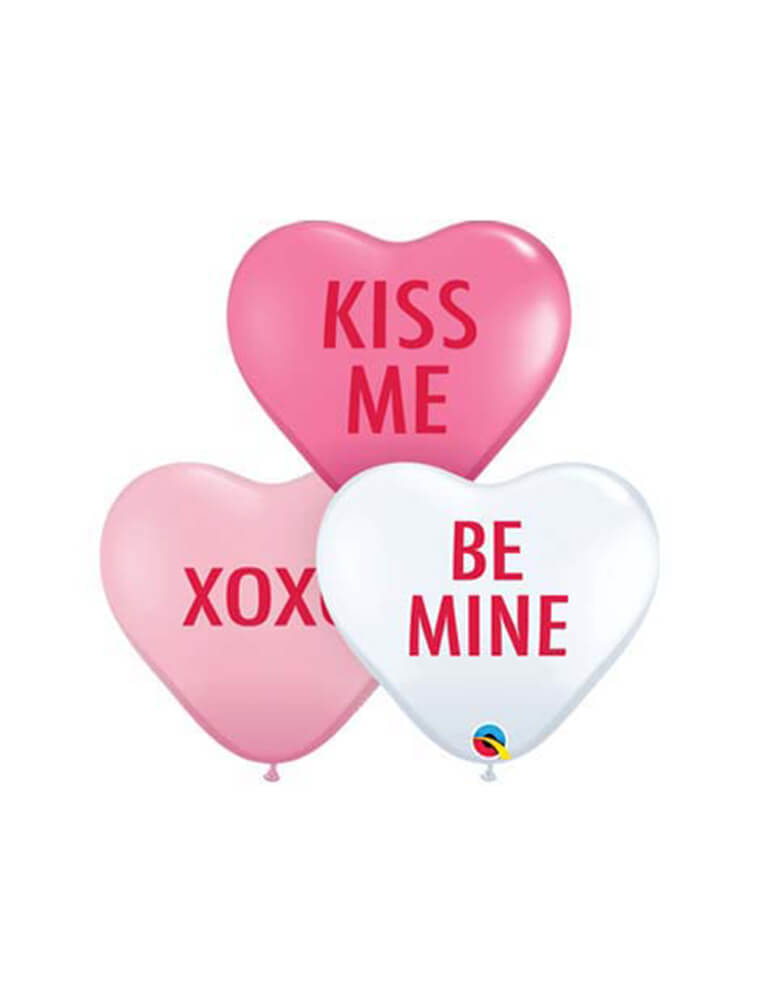 Qualatex Mini Conversation Heart Shaped Latex Balloon Mix in pink, rose and white with messages of kiss me, xoxo, and be mine