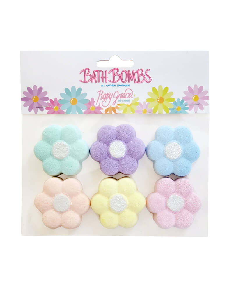 Roxy Grace - Mini Daisy Bath Bombs. pack of 6. featuring 6 daisy shaped bath bomb in pastel color.  Each flower is scented with the concentrated aroma of the highest quality essential oils and organic fragrance oils. They make perfect a sleepover party gift, salon themed party, a fun bath time or Easter basket fillers for your little ones!
