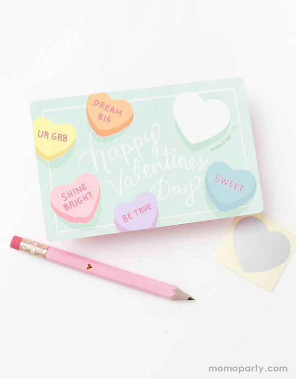 inklings Paperie Mini-Gold-Heart-Pink-Mini-Pencils with Sweetheart Valentines Scratch-off card. Simply write your own special handwritten message in the blank area, cover it with the scratch-off sticker provided, and scratch to reveal your valentine.