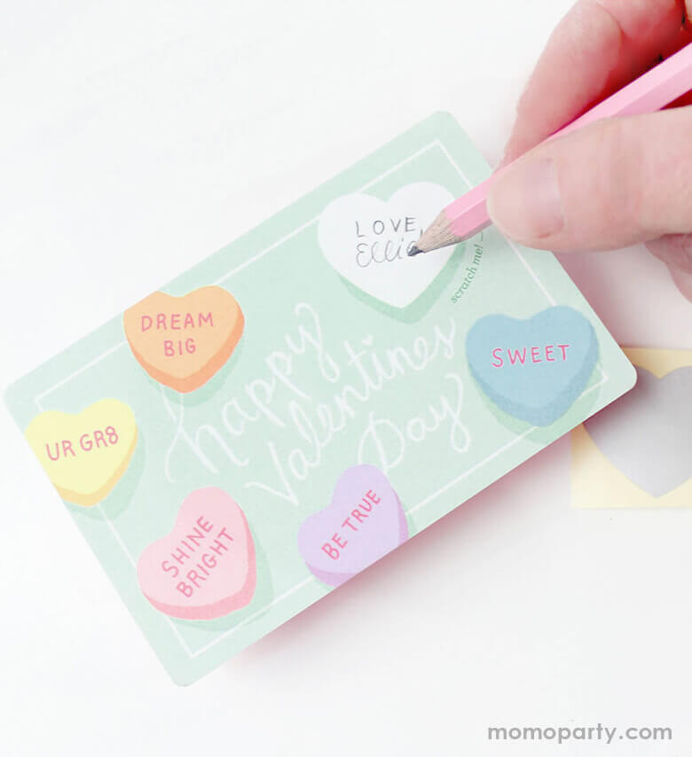 write a special secret sweet note with Inklings Paperie Mini-Gold-Heart-Pink-Mini-Pencils on the Sweetheart Valentines Scratch-off card, then cover it with the scratch-off sticker provided, and scratch to reveal your valentine. This scratch off card is perfect for valentine's gift to someone you love.