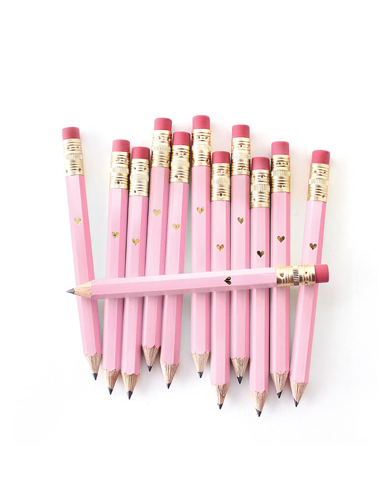 inklings Paperie, Pink Mini Pencils with Mini Gold Heart. Set of 12,This set of 12 sweet mini pencils comes foil-imprinted with a tiny gold heart. With a gold ferrule and classic pink eraser, pencils come pre-sharpened and are perfect for party games or favors.
