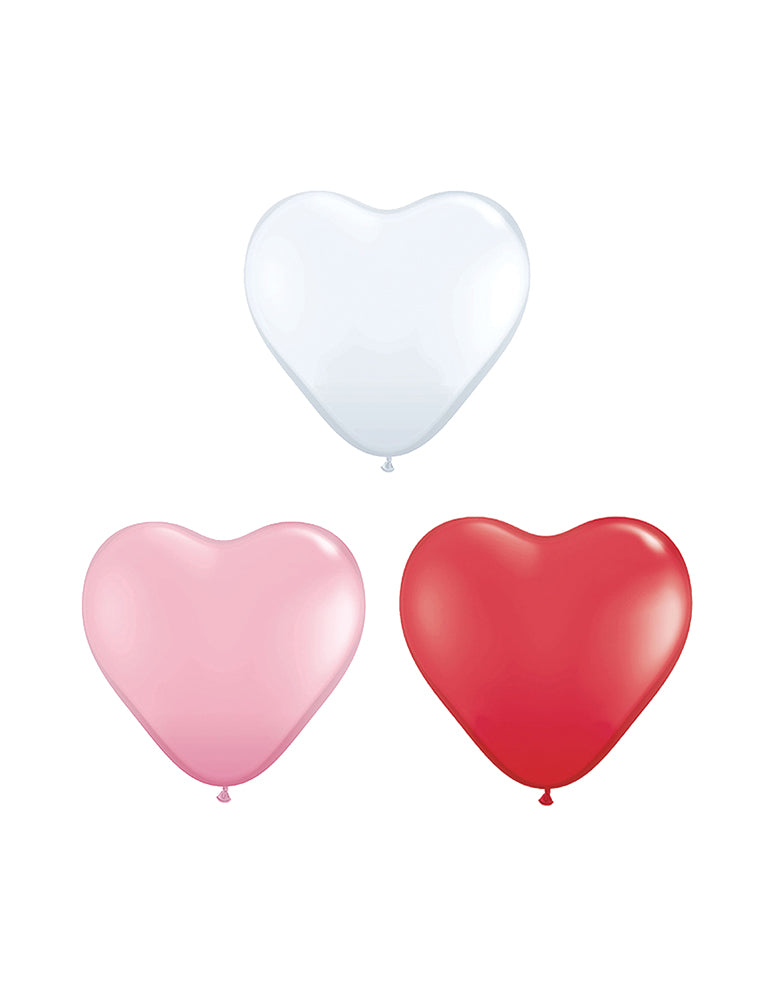 Assorted Mini Heart Shaped Latex Balloon Mix (Set of 12)