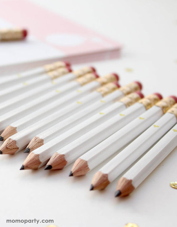 Mini Gold Heart - White Mini Pencils (Set of 12)