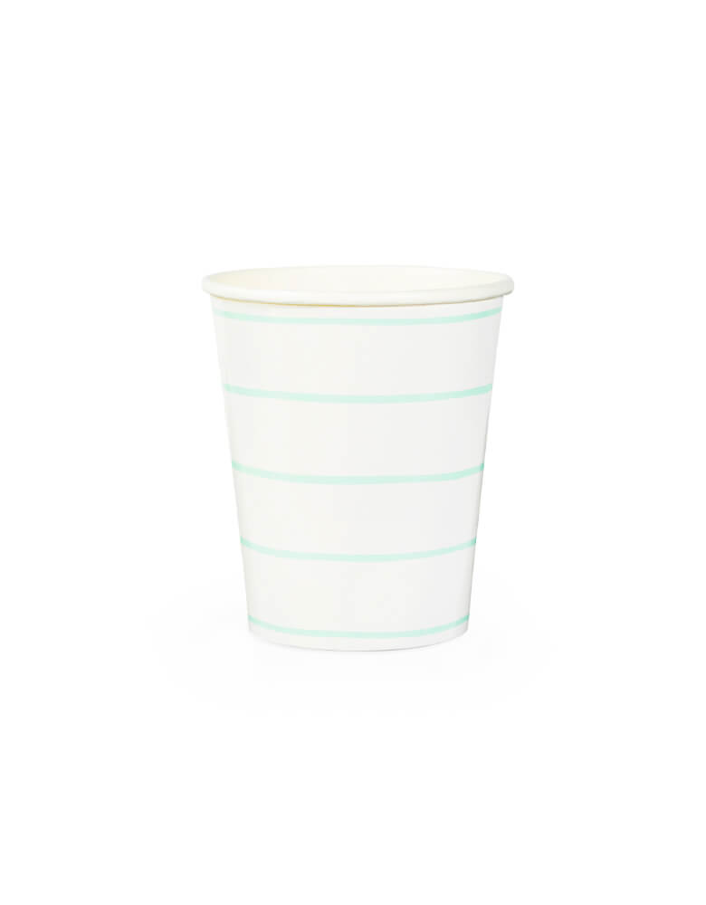 Daydream Society Frenchie Striped Paper Party Cup in Mint color, Pack of 8. A Eco-friendly modern party tableware, simple modern look party supplies for Modern party event, baby shower, bridal shower, any event and celebration.