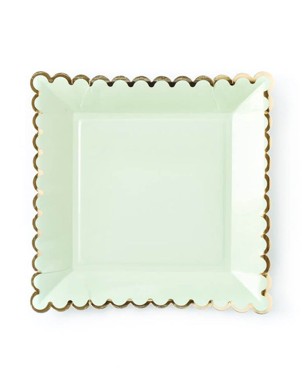 "My mind's eye - Mint Scalloped Large Plates. These 9"" mint paper dinner plates with gold foil accents are so lovely and elegant. Great for a spring-themed party or a sweet baby shower."