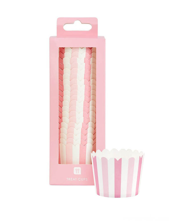 Talking Tables - Mix & Match Pink Treat Cups. Pack of 20 in pastel pink stripe design. These Retro pink stripy treat cups are perfect for baking, sweets, ice-cream, desserts and much more. These cups can go in the oven to bake cupcakes and treats!