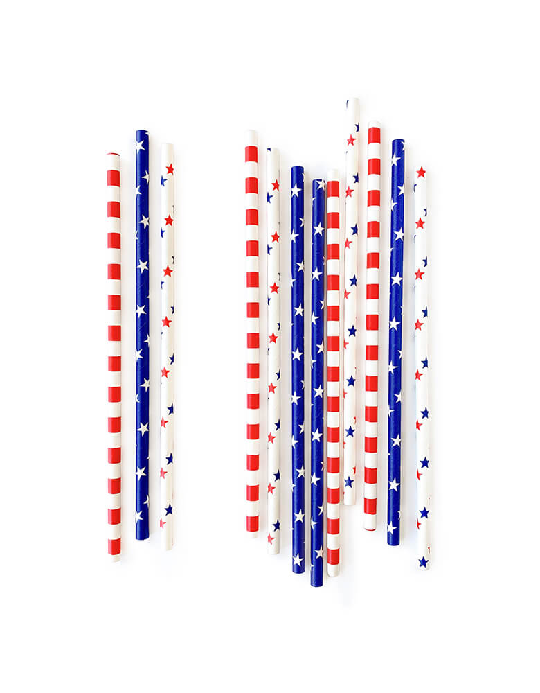 Mixed eco-friendly paper straws with red and blue stars, blue with white stars, and red and white stripes design for your 4th of July, memorial day celebration, Superhero Captain America, or any patriotic themed party