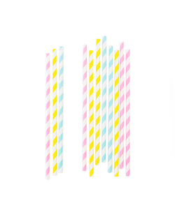 Eco-friendly colorful Mixed Pastel Striped Straws