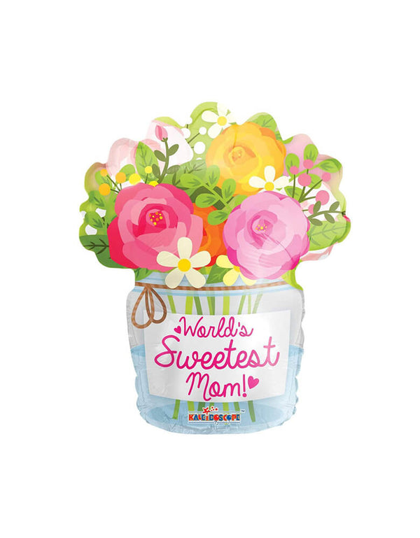"Convergram Balloon - 18inch Mom Mason Jar Shape Foil Balloon. Featuring a elegant mason jar with fresh flowers shaped foil balloon with Text ""World's Sweetest Mom"" worlds on the mason Jar. This foil balloon is perfect for your Mother's Day celebration!"