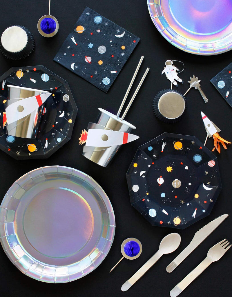 kids outer space birthday party with meri meri party tablewares