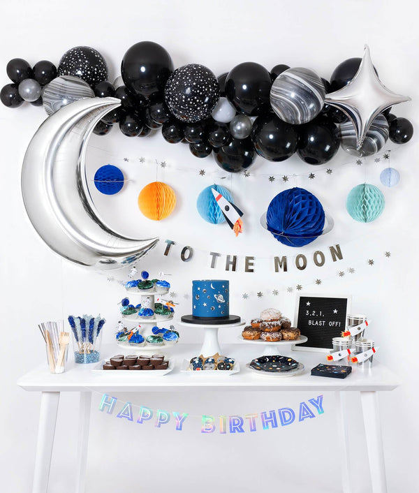 Momo Party Space Blash Off Party Box with Space themed Balloon garland, Starburst Foil Balloon, Silver Moon Foil Balloon, Honeycomb space garland, Silver Happy birthday banner and tablewares