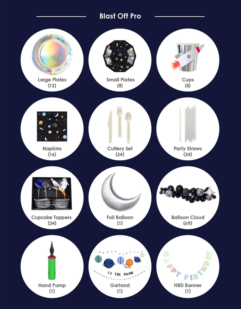 Product list of premium version of boys' space theme birthday party box