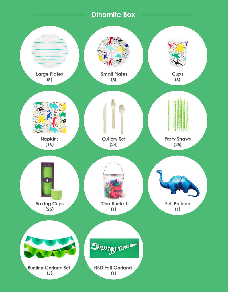 Product list of Morden and Neon Dinosaur theme birthday party