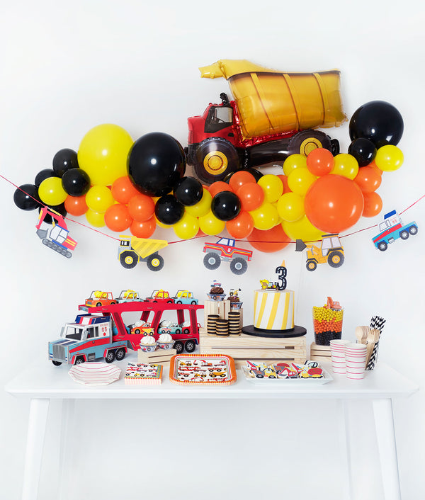 View a larger version of the kids construction themed birthday decoration image