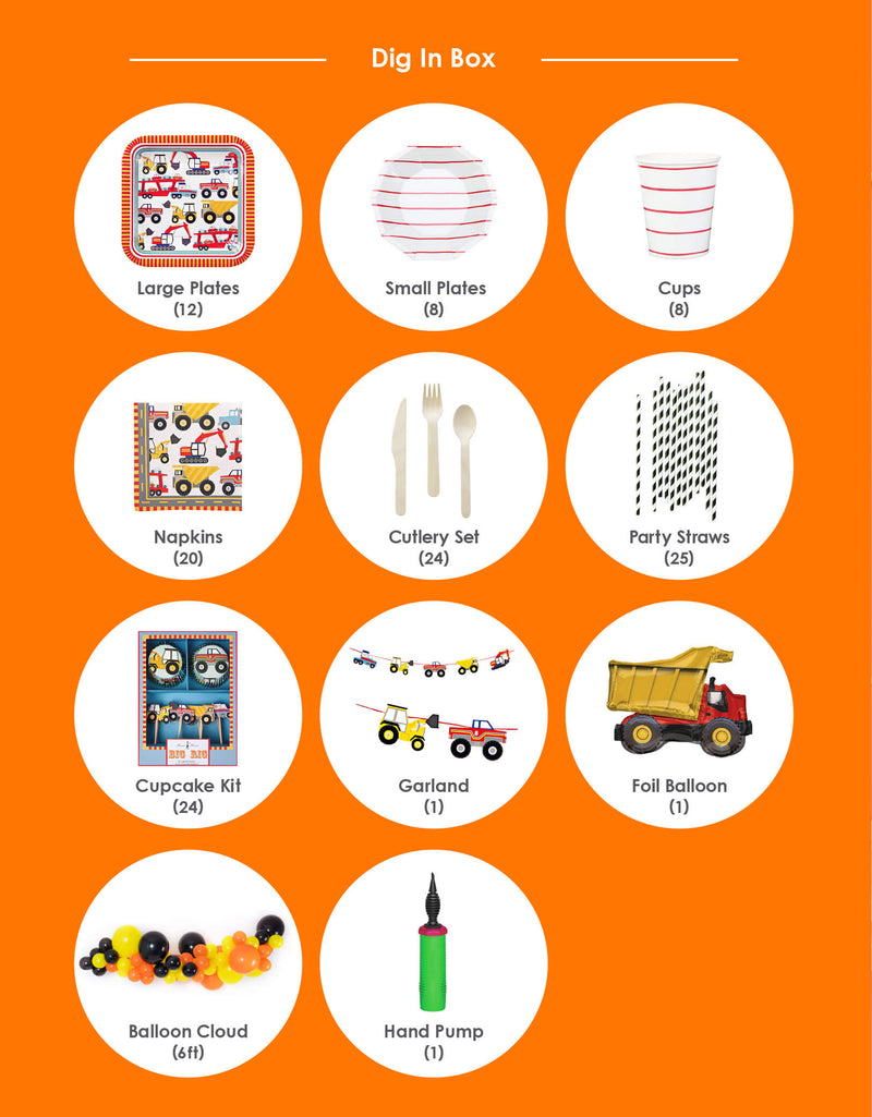 Product list of full edition party box of boys' truck theme birthday