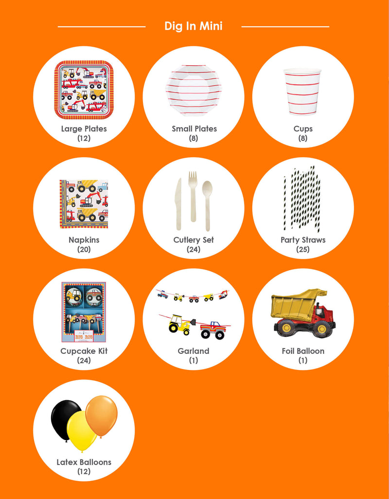 Party in a box list of boy's Construction Truck Theme birthday party box
