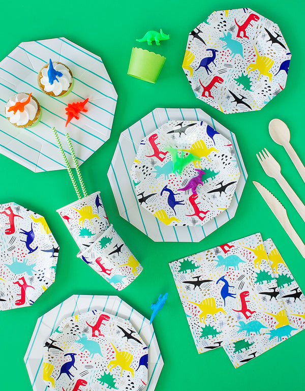Morden and Neon Dinosaur theme birthday party tablewares