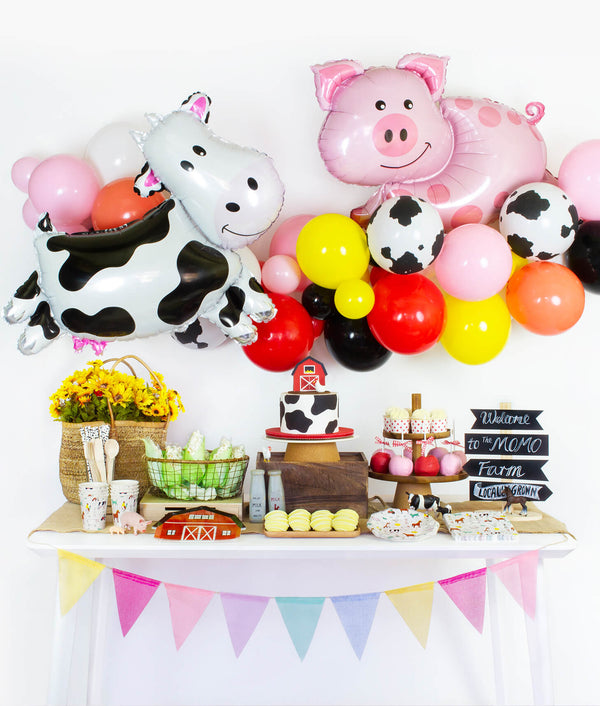Momo Party Dessert table set up and wall decoration inspiration for Barn yard, Farm, Animals Birthday Party, kids 1st birthday party