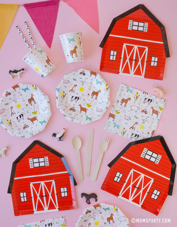 kids Party tablewares of Barnyard plates, farm animal plates, cups, and colorful bunting garland, for Barnyard, Farm themed Kid birthday party