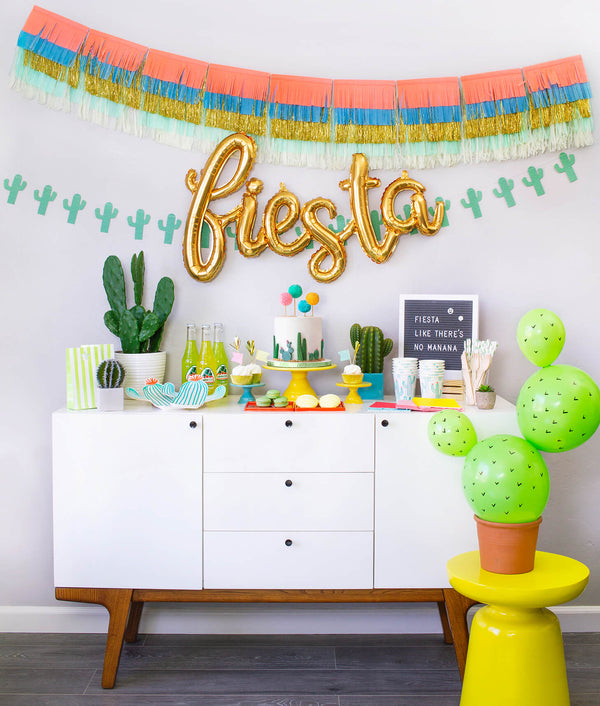 Momo party in a box, Cactus Fiesta themed Morden Party tablewares, Party Supplies, Party decoration inspiration for Mexican Fiesta themed birthday party, Cactus themed Celebration