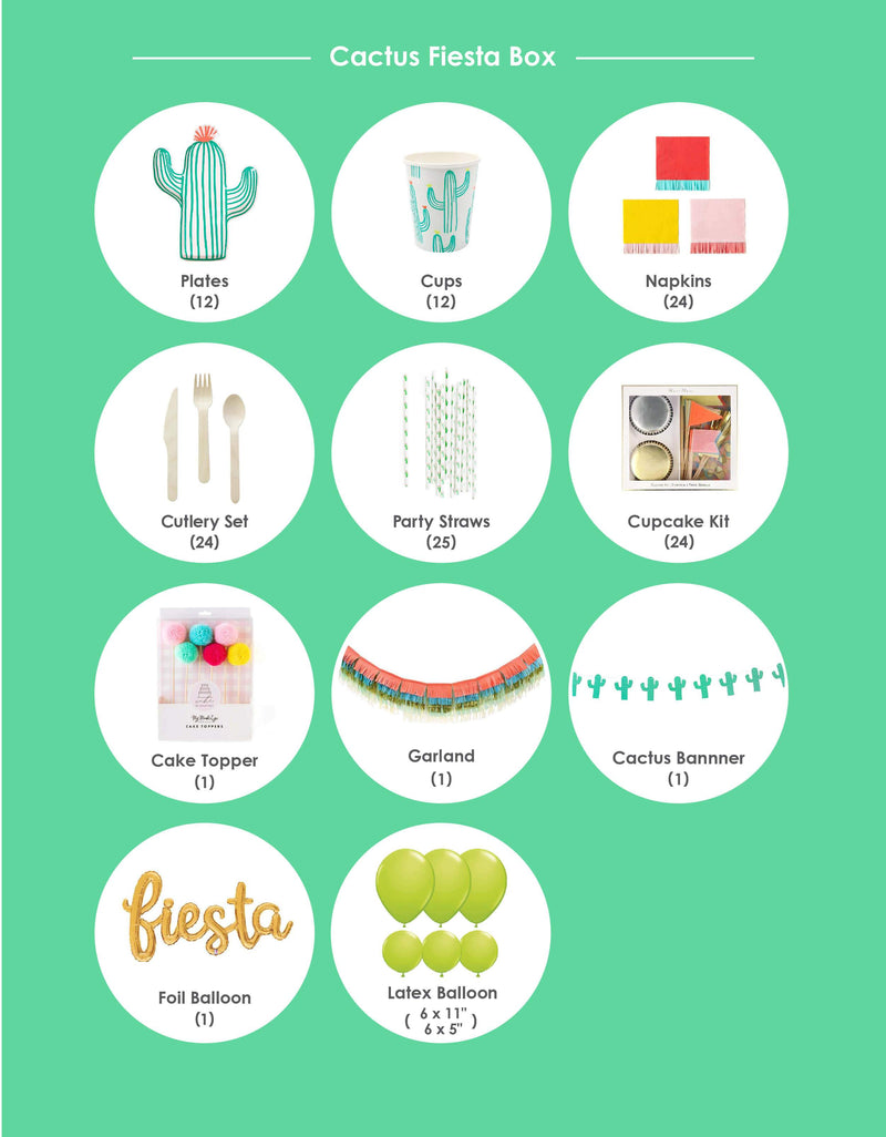Momo party box item list for Cactus Fiesta themed Morden Party