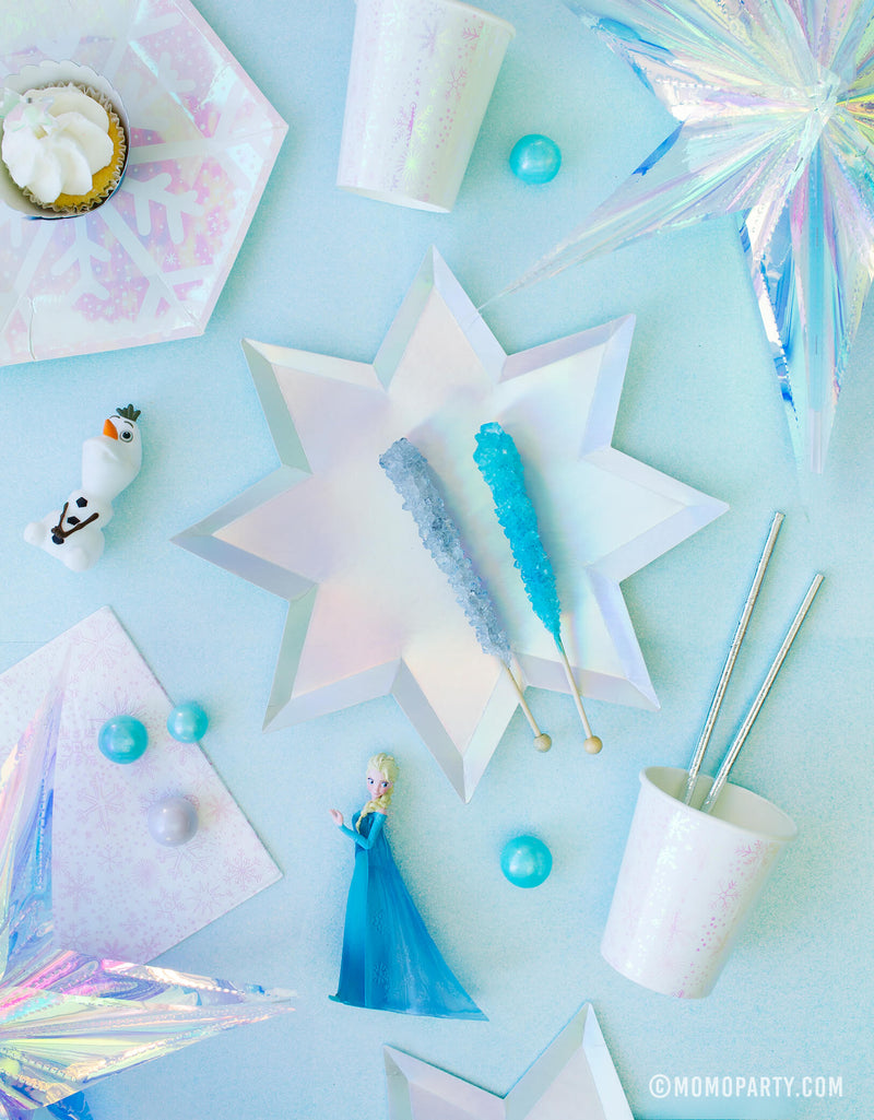 Momo party frozen collection, Frozen themed Morden Party tablewares with Meri Meri 8-point Shining Star Plates, Daydream society Frosted Small Plates, Frosted Cups, Elsa and Olaf figure toy as decoration