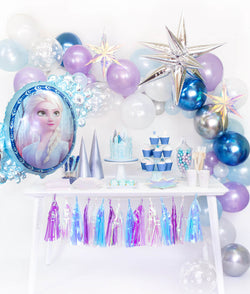 Momo Party Frozen Box, set up inspiration look with Frozen Balloon garland, with Jumbo 12 Point Silver Starburst Foil Balloon, Iridescent Star Decorations and  Disney Frozen 2 Elsa Anna Two Sided Foil Balloon as party backdrop wall decorations. Desert table with Meri Meri Shining Star Large Plates, Day Dream Society Frosted Small Plates, Iridescent Cups, Frosted Napkins, frozen cake with a elsa figure toy, for a modern Frozen party, Frozen 2 party, Girls Frozen birthday, frozen winter wonderland party