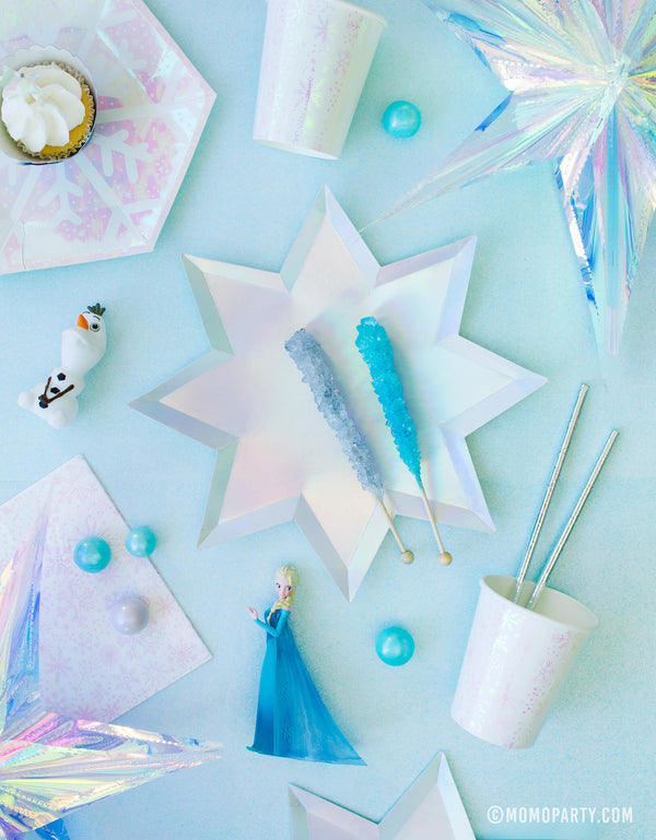 Momo party frozen collection of Frozen themed Morden Party tablewares with Meri Meri 8-point Shining Star Plates, Daydream society Frosted Small Plates, Frosted Cups, Elsa princes and Olaf figure toy as decoration