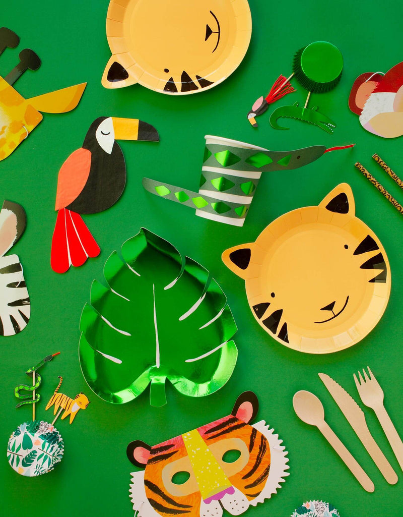 Meri Meri Party wares of Green Palm Leaf shaped Foil Paper Plate, Tiger paper plate, Toucan Napkin, Snake cup, Safari animal cupcake toper with green foil cupcake sleeve, Animal party masks