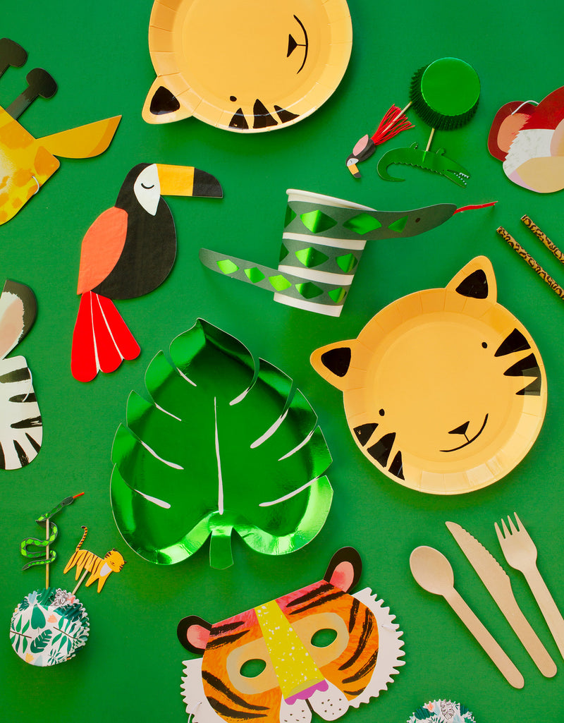 Meri Meri Party wares of Green Palm Leaf shaped Foil Paper Plate, Tiger paper plate, Toucan Napkin, Snake cup, Safari animal cupcake toper with green foil cupcake sleeve, Animal party masks for jungle party supplies all in a box, for kids safari theme fun birthday