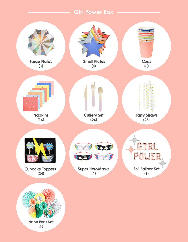 Party supplies list for Girl Power, Superhero themed Birthday