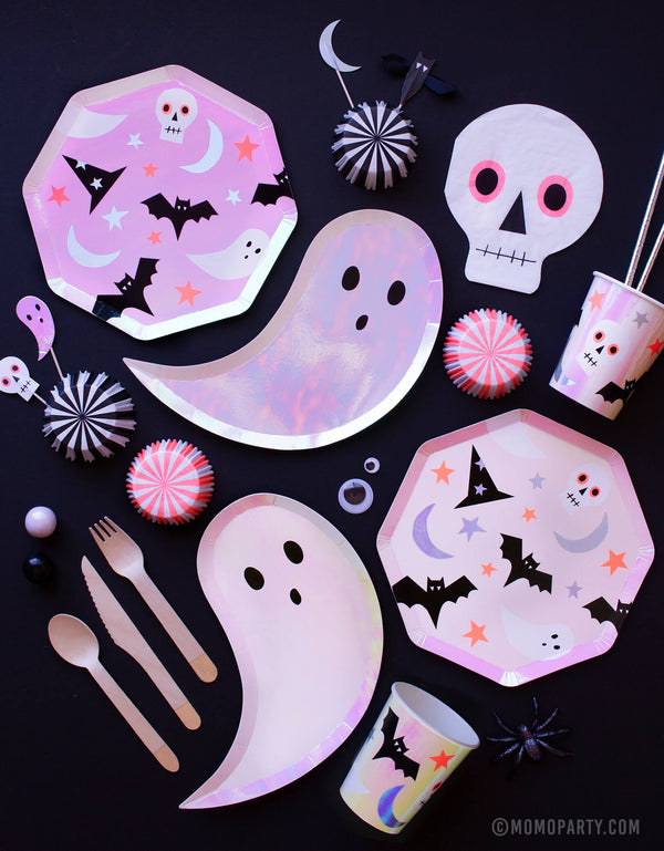 2019 momo party kids New Halloween party collection box supplies with Meri Meri ghost plates, halloween icon plates and cups, skull napkin, cupcake kits