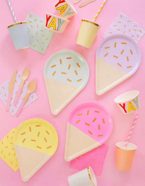Pastel ice cream party plates, sprinkle napkin, pastel paper cups for Summer Ice Cream themed Party