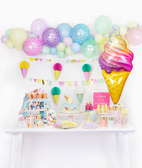 table set up and wall decoration inspiration for Summer Pastel Ice Cream Party, Birthday Party