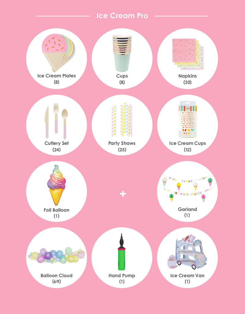 Party supplies inspiration of Product list of summer ice cream theme birthday party